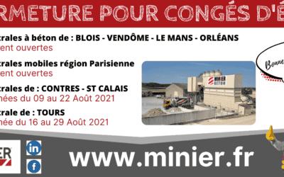 Centrales à béton ouvertes durant le mois d'Août 2021